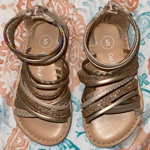 Toddler Girl Shoes Size 5 Strap Sandals Gold